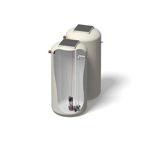 1200x2500mm 2740 Litre 6m Head Hudson Pump Chamber - Foul Water Single Pump.