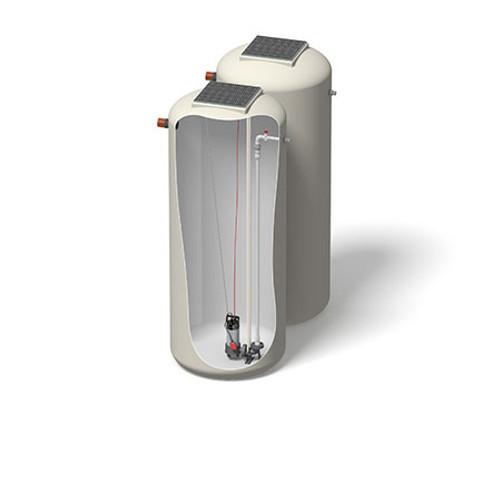 1200x3000mm 3299 Litre 6m Head Hudson Pump Chamber - Foul Water Single Pump.