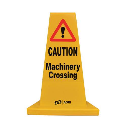 Yellow Machinery Crossing Hazard Cone