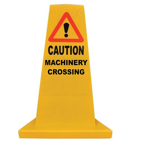 Machinery Crossing Yellow Hazard Cone