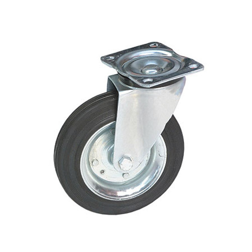 """8"""" Rubber Castor Wheel (Black)"""