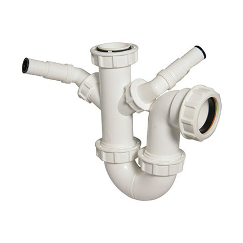 40mm Double Nozzle Waste Trap - 76mm Seal - White.