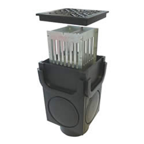 LibertyPLAS sump unit. Has an inbuilt galvanised steel bucket for collecting and filtering leaves, grit and dirt.