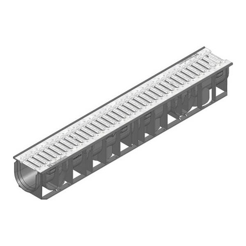 RECYFIX STANDARD 100 A15 trafficable channel drain with galvanised steel slotted grating.