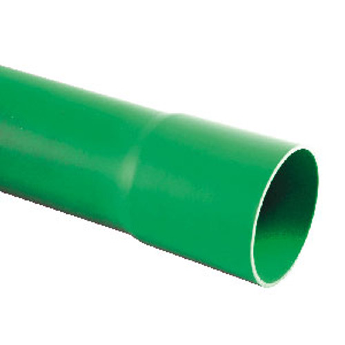 Green solid wall PVC-U 90/96.5mm ducting (6m).