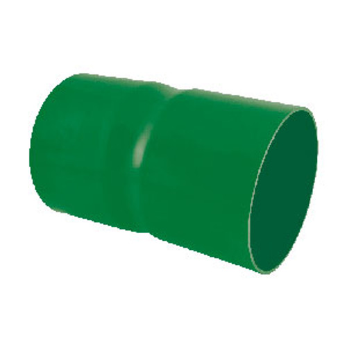 Green PVC-U ducting double socket coupler.