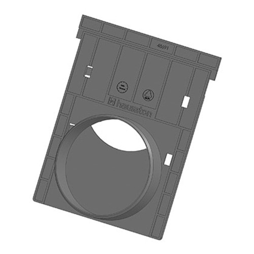 RECYFIX end cap for NC drainage channels (either E600 or D400 channels). With outlet option for 110mm DN/OD pipework.
