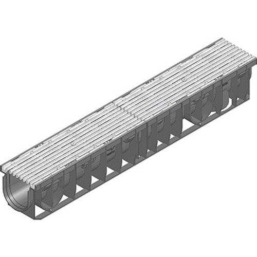 RECYFIX PRO 100 D400 channel drain with galvanised ductile iron grating.
