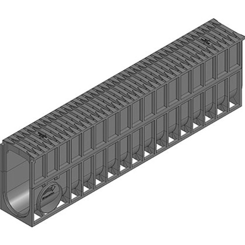 RECYFIX MONOTEC 100 channel drain with FIBRETEC grating. D400 loading. 280mm high channel for large water capacity.