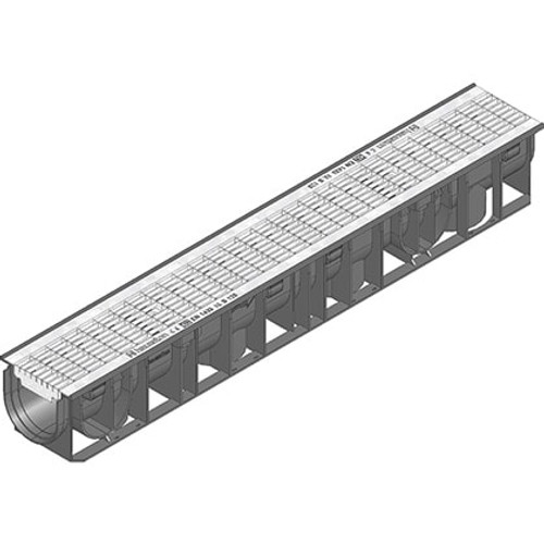RECYFIX 100 B125 channel drain with galvanised steel mesh grating.