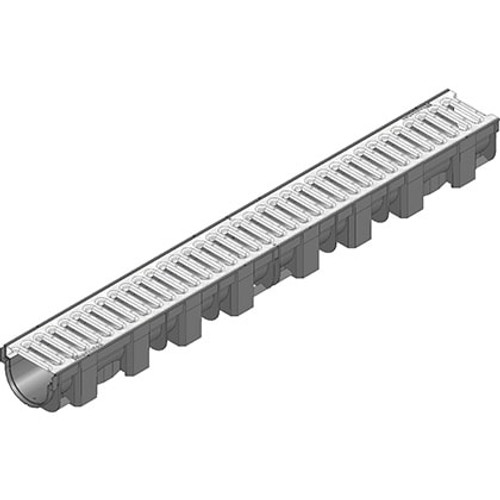 TOP-X linear channel drain with galvanised steel slotted grating. Rated A15.
