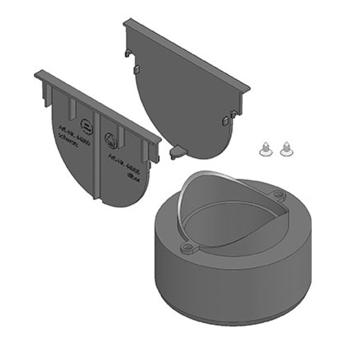 Connection pack for TOP X drainage systems. Includes two end caps and an adaptor to connect to below ground drainage systems.