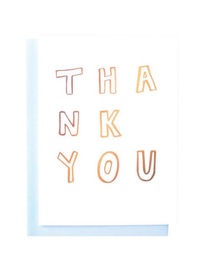 Thank You Greeting Card- Gold