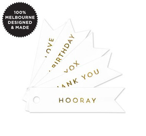 Celebrate Gold Flag Tags on White 10 pack