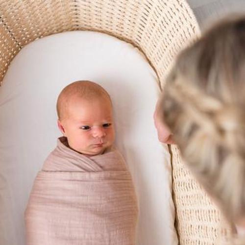 Dusty Pink - Organic cotton muslin swaddle wrap - luxury linen feel.