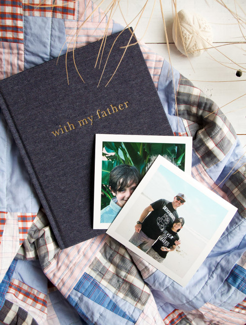 """Styled shot of the """"With my Father"""" linen journal by Write to Me. Images of a Father and Son."""
