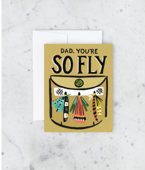 Dad your so Fly greeting card is a mustard background with fishing fly design.