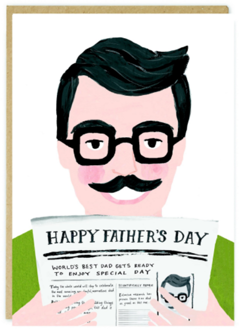 Father's Day Card that showcases a dark haired man reading his morning Newspaper.