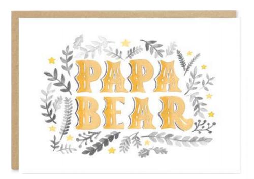 Gold Papa Bear text greeting card - blank inside.