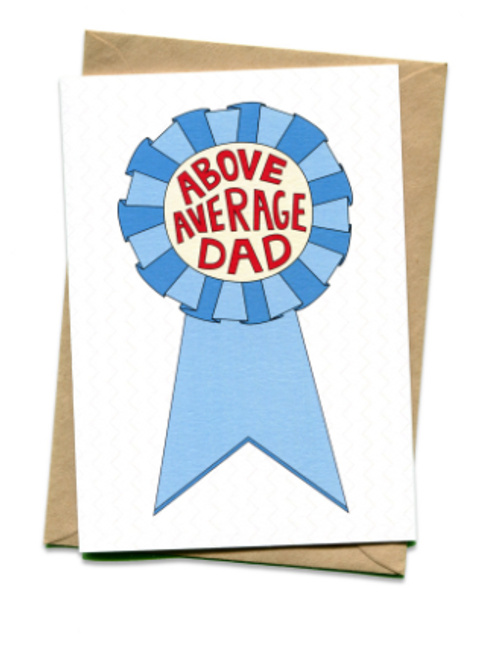 """Blue ribbon with text """"Above Average Dad"""" Blank inside and kraft envelope."""
