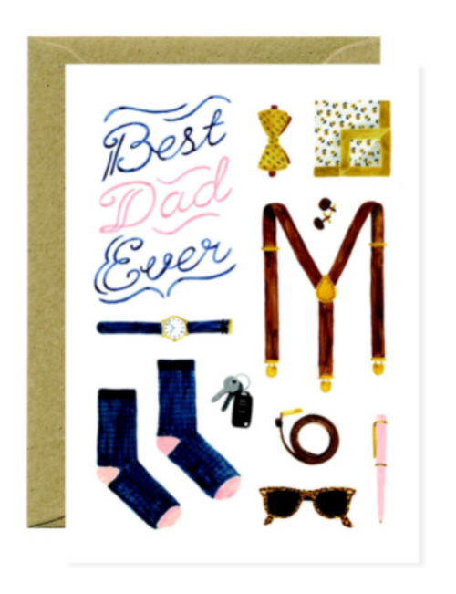 """Wallet, socks, watch illustrated greeting card with text """"Best Dad Ever"""""""