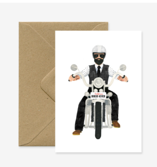 Illustrated design of a dashing man on a motorcycle.