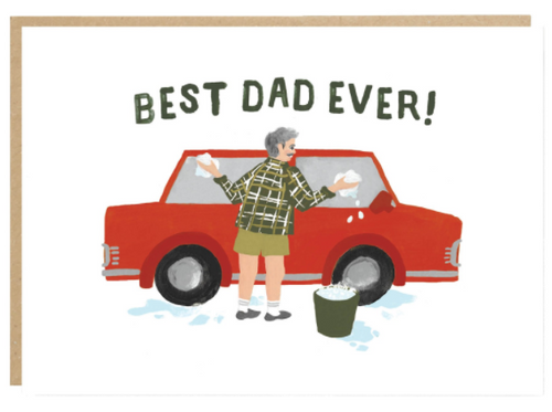 """Dad washing his beloved red car. Text """"Best Dad Ever"""""""