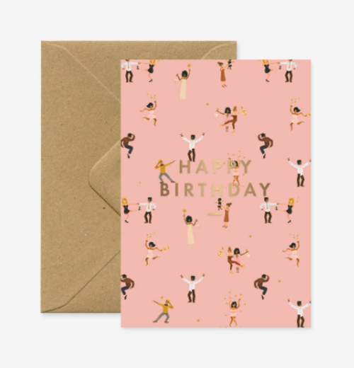 Dancers on a pink background, Happy Birthday in gold foil print.