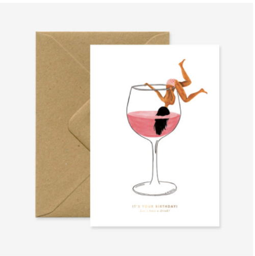 """Illustrated red wine glass with female figure hanging out title """"just one drink for your birthday"""""""