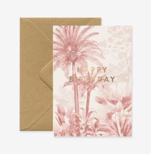 """Pink shadow forest Birthday card with gold foil text """"Happy Birthday"""" -"""