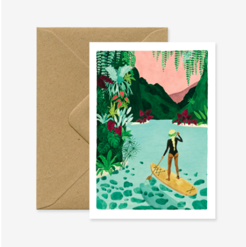 Paddle Girl greeting card,  Illustrated by CLAIRE LEINA