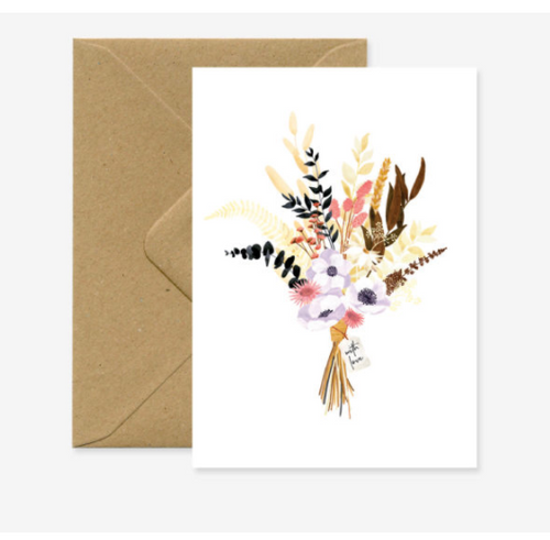 Bouquet flowers with brown kraft envelope.
