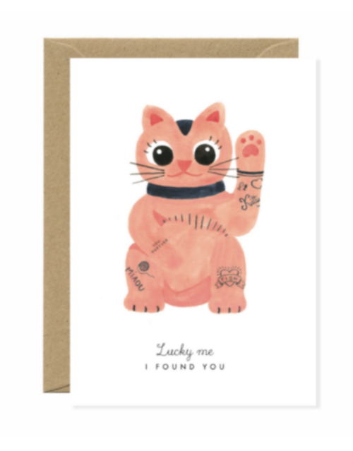 Lucky Cat illustrated greeting card.