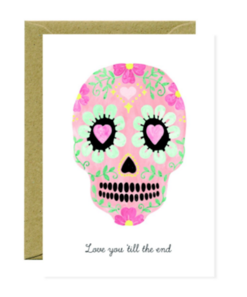 Love you to the end illustrated skull card with brown kraft envelope.