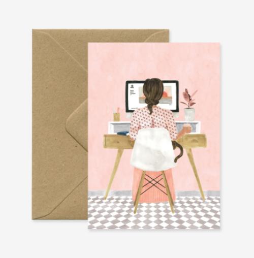 Illustrated girl sitting at her home desk