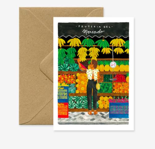Beautiful illustrated Fruit market (everyday greeting card)