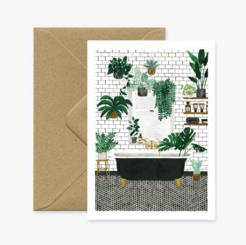 Beautiful illustrated Bathroom (everyday greeting card) Could be used to congratulate on renovations, a new home, or a card to wish relaxation.