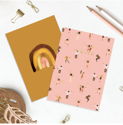 A6 notebook pair. Foiled Rainbow and Dancing Pattern with pink background.