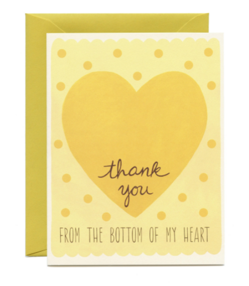 """Sunshine yellow Thank You greeting card with """"From the bottom of my heart"""" type."""