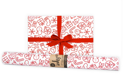 Get into the Christmas spirit with My Xmas Red. This modern, stylized Christmas wrapping paper features red ink printed on matte white wrapping paper.