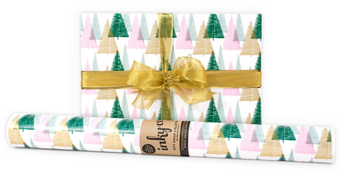 Bottlebrush Trees is a gorgeous modern Christmas design featuring dark green, pale green, pale pink and gold metallic inks on white wrapping paper.