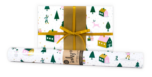 Snow Field is a gorgeous modern winter Christmas design featuring dark green, pale pink and gold metallic inks on white wrapping paper.