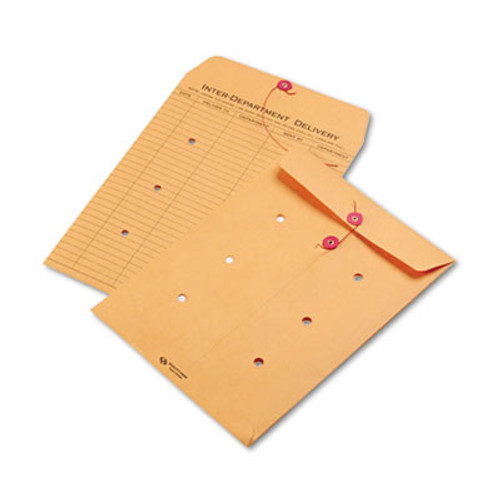 QUA63462 Brown Kraft String & Button Interoffice Envelope, 9 x 12, 100/Carton