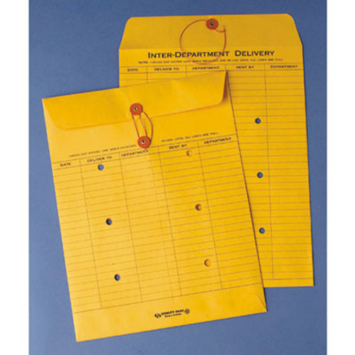QUA63560 Brown Recycled Kraft String & Button Interoffice Envelope, 10 x 13, 100/Carton