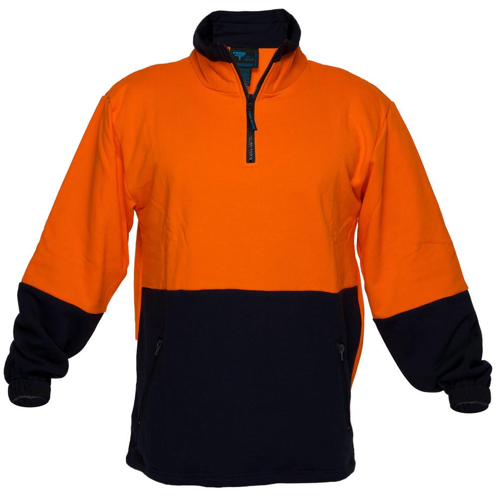 Hi Vis Cotton 1/4 Zip Fleece ORG/NVY A/Pill A/Static (XLarge)