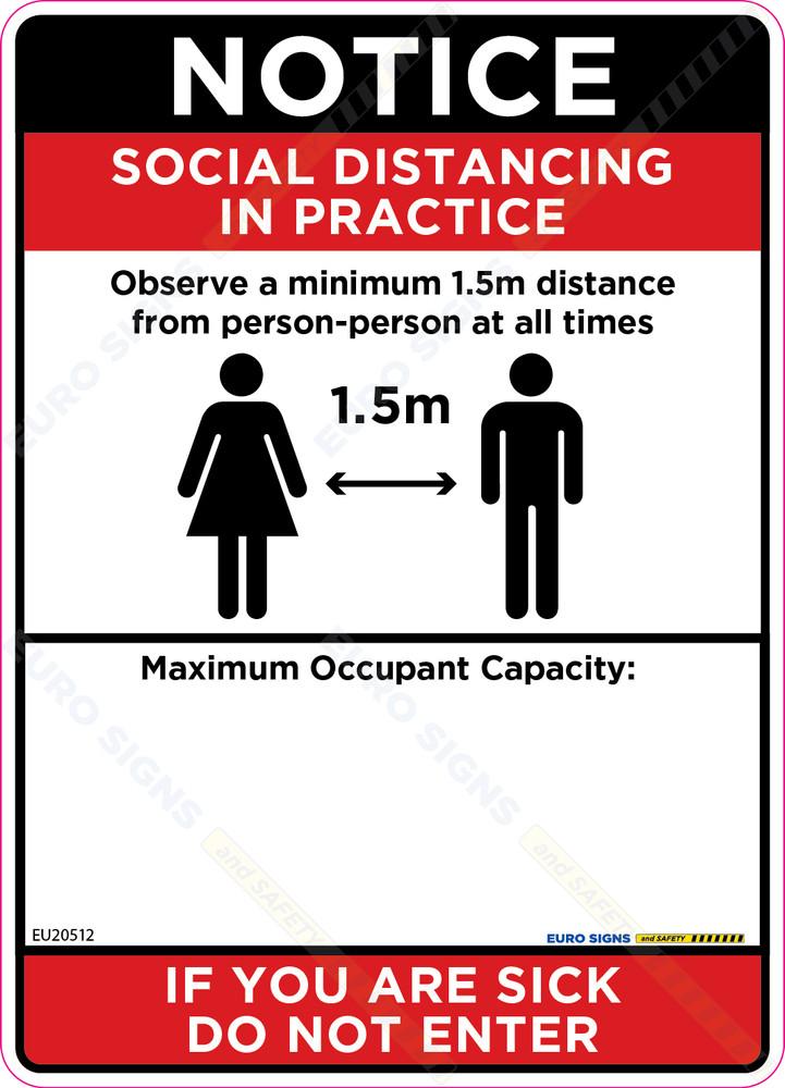 180x250 Social Distancing Max Capacity Decal