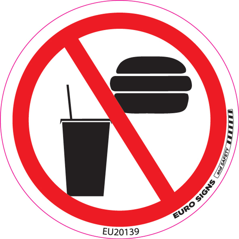 NO FOOD/DRINK 100MM DIA DECAL
