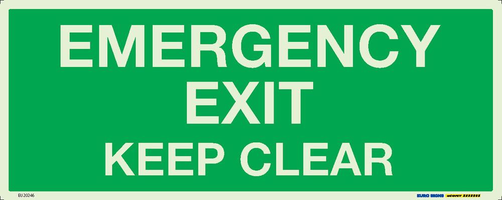 EMERGENCY EXIT KEEP CLEAR 450x180 LUM. DECAL