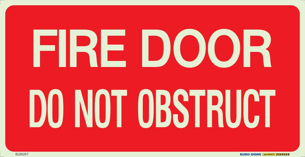 FIRE DOOR DO NOT OBSTRUCT 350x180 Luminous Decal