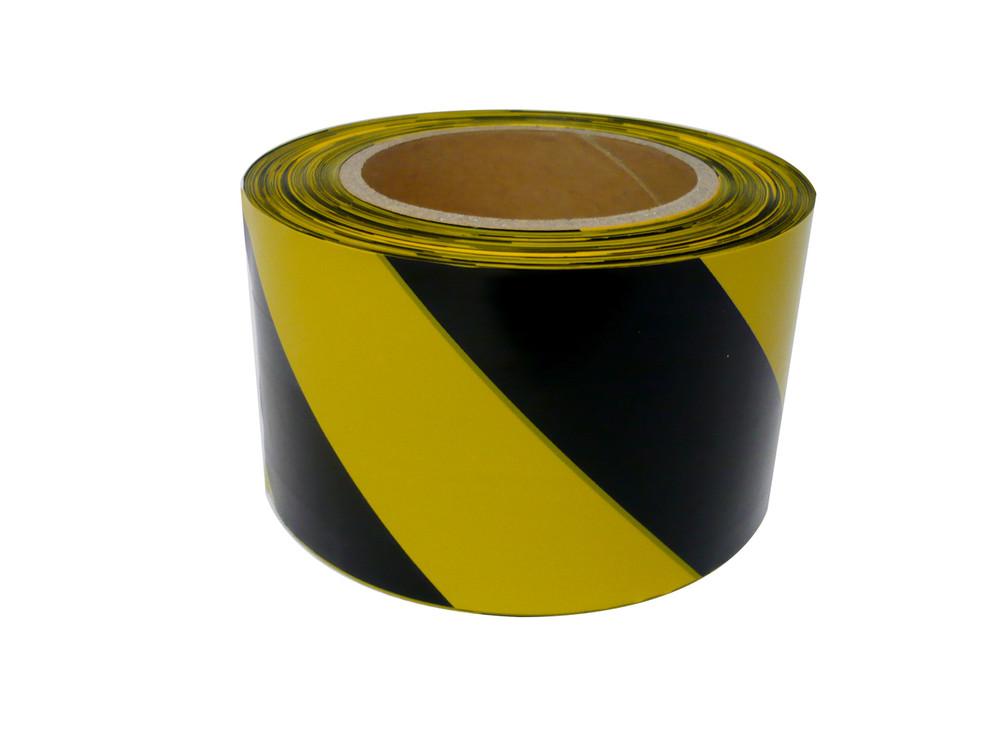 Warning Tape BLACK/YELLOW STRIPED 100mx75mm
